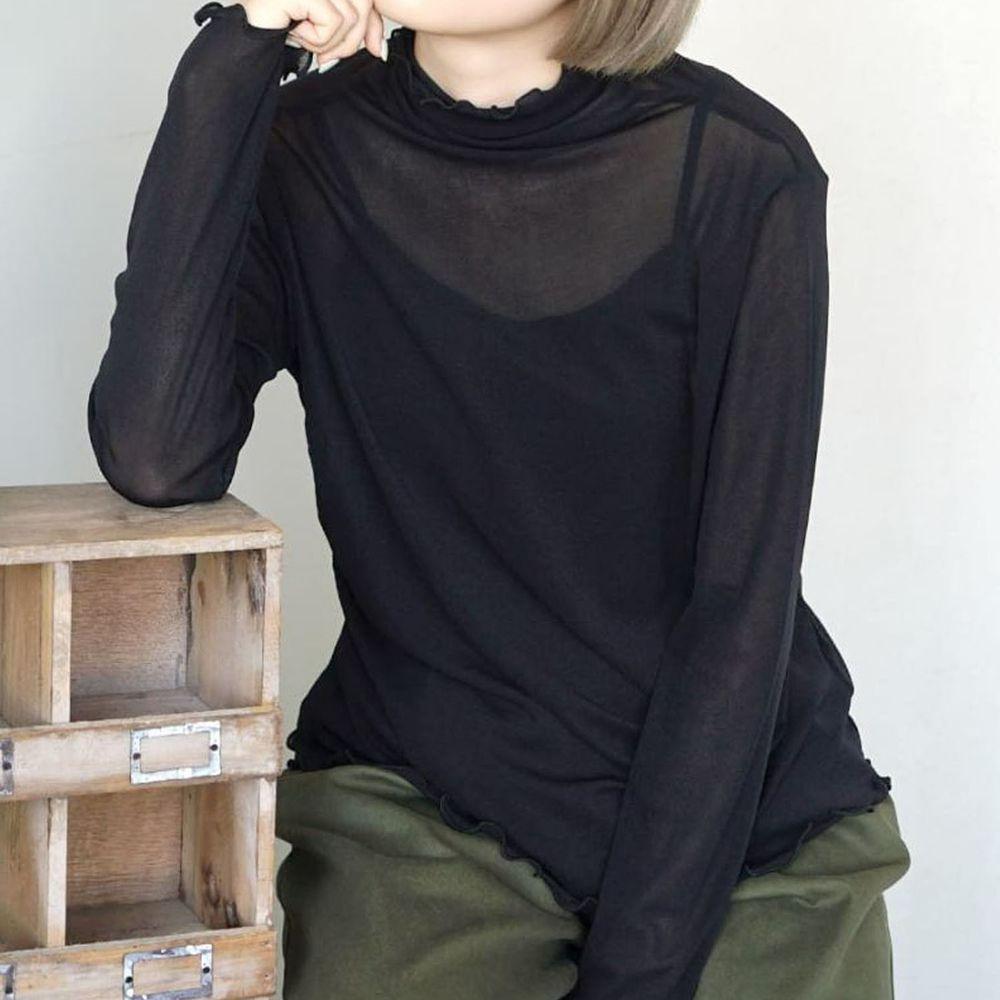 日本 zootie - 木耳邊透膚輕薄長袖上衣-黑