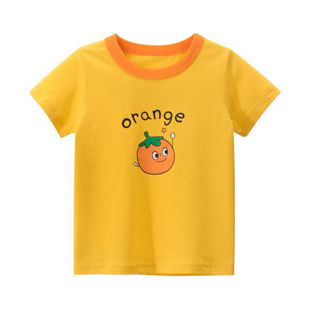 純棉短袖上衣-orange橘子-黃色