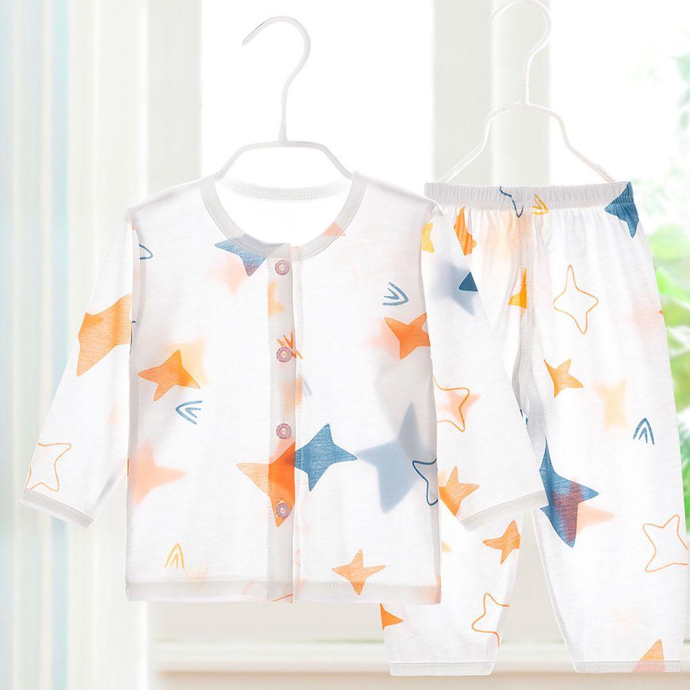 超薄款竹纖維睡衣家居服長袖套裝-前開扣-藍橙星星