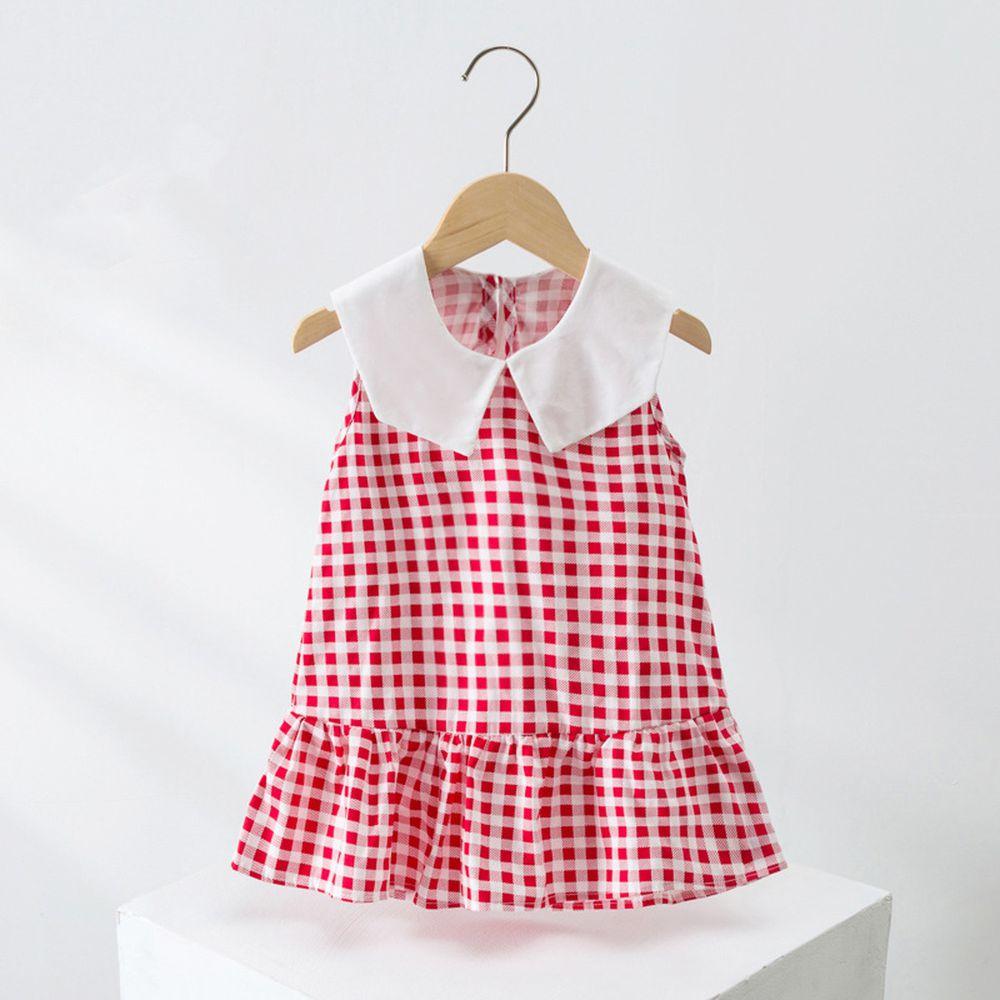 田園鄉村風純棉小白領無袖洋裝-紅色格子