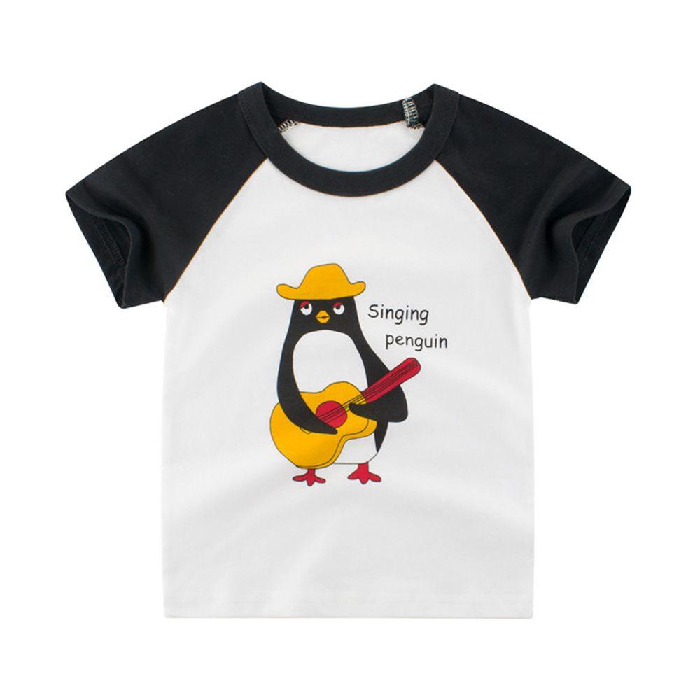 純棉短袖上衣-歌唱企鵝-米白/黑色