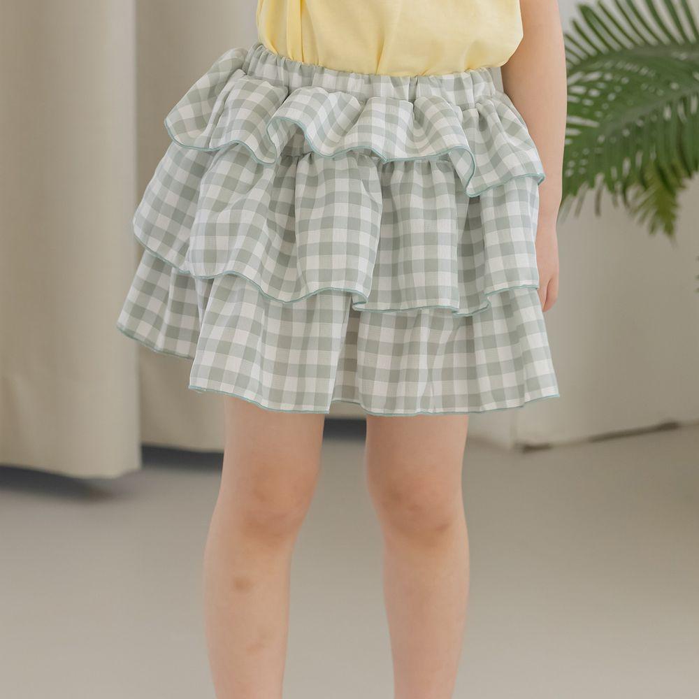 韓國 Orange Mom - 格子蛋糕裙-灰綠