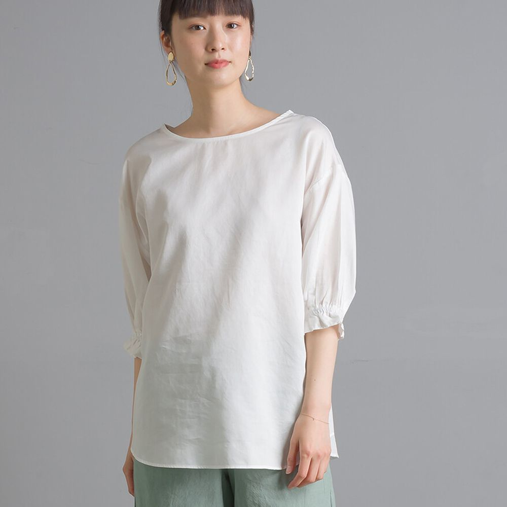 日本 OMNES - 高品質棉緞寬領澎澎短袖上衣-白 (Free size)