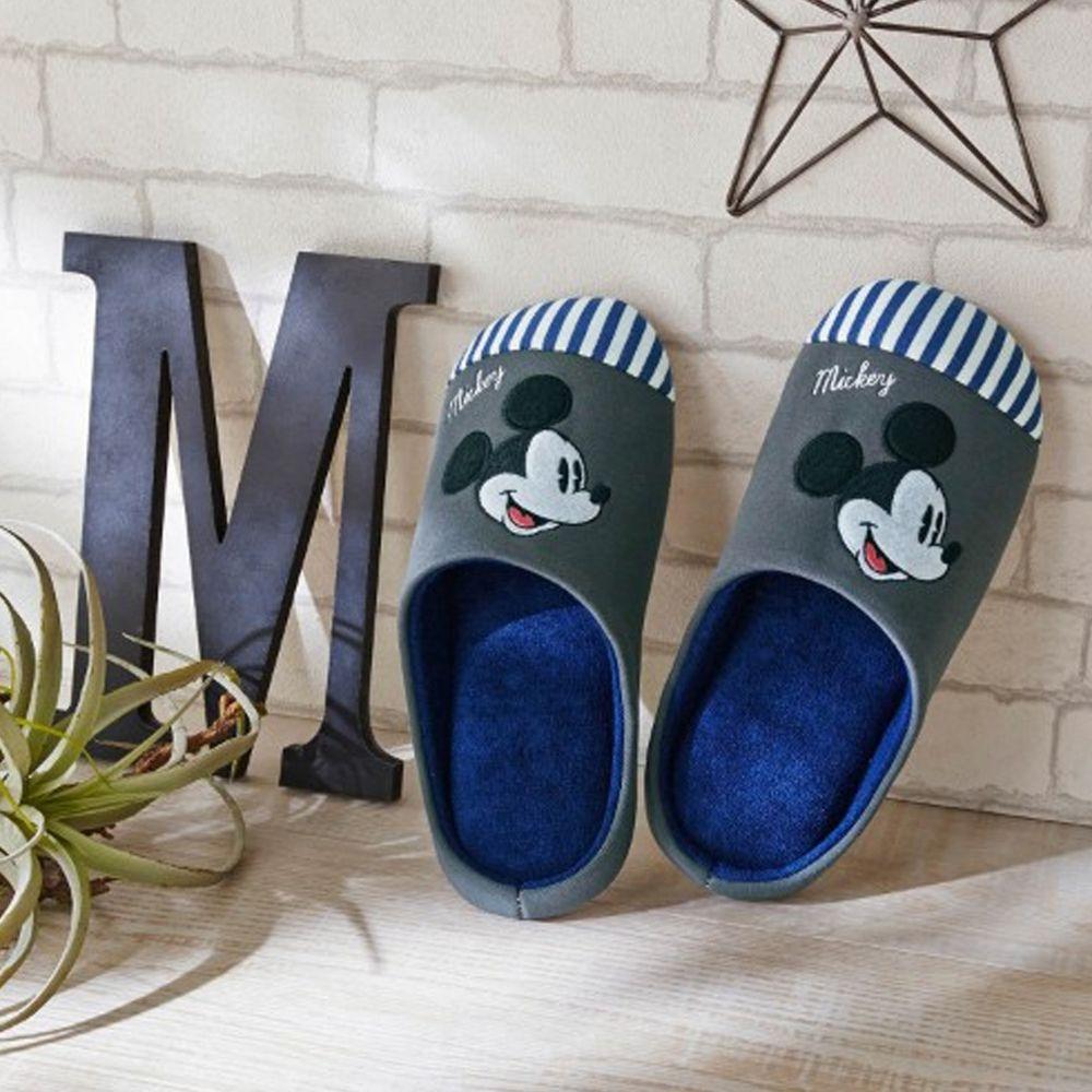 日本千趣會 - 迪士尼室內拖鞋(低反發)-米奇條紋-深灰X藍