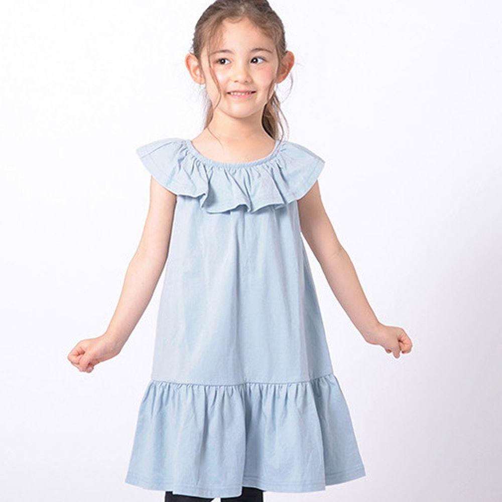日本 TORIDORY - 純棉 荷葉圓領無袖洋裝-寶貝藍