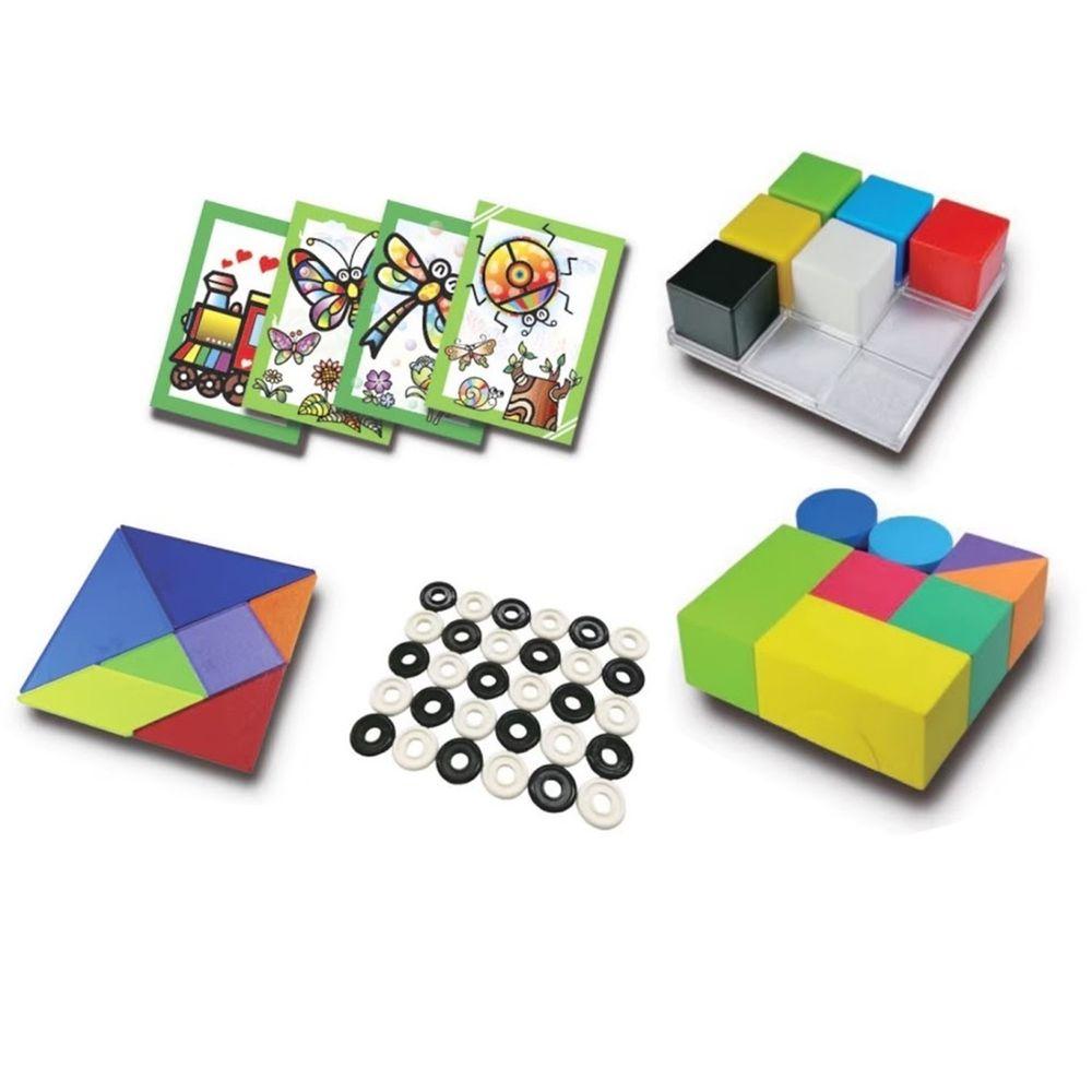 資優數學 - 30種智力遊戲-系列1 趣味動手版(上)-5份練習單+教具5份