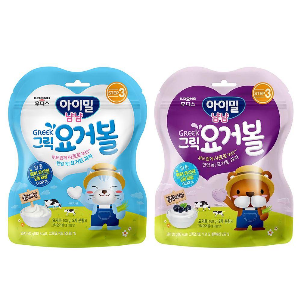 韓國Ildong Foodis日東 - 優格愛心餅2入組-原味*1+藍莓*1