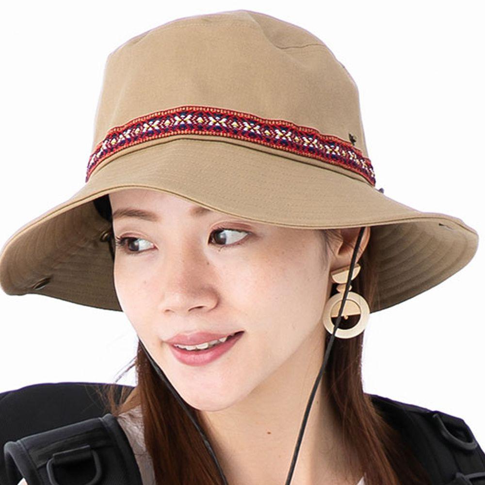 日本 irodori - 抗UV民族風圖騰撞色遮陽帽(附防風帽帶)-杏