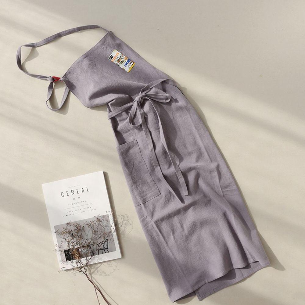 前繫帶純色棉麻圍裙-鼠灰色