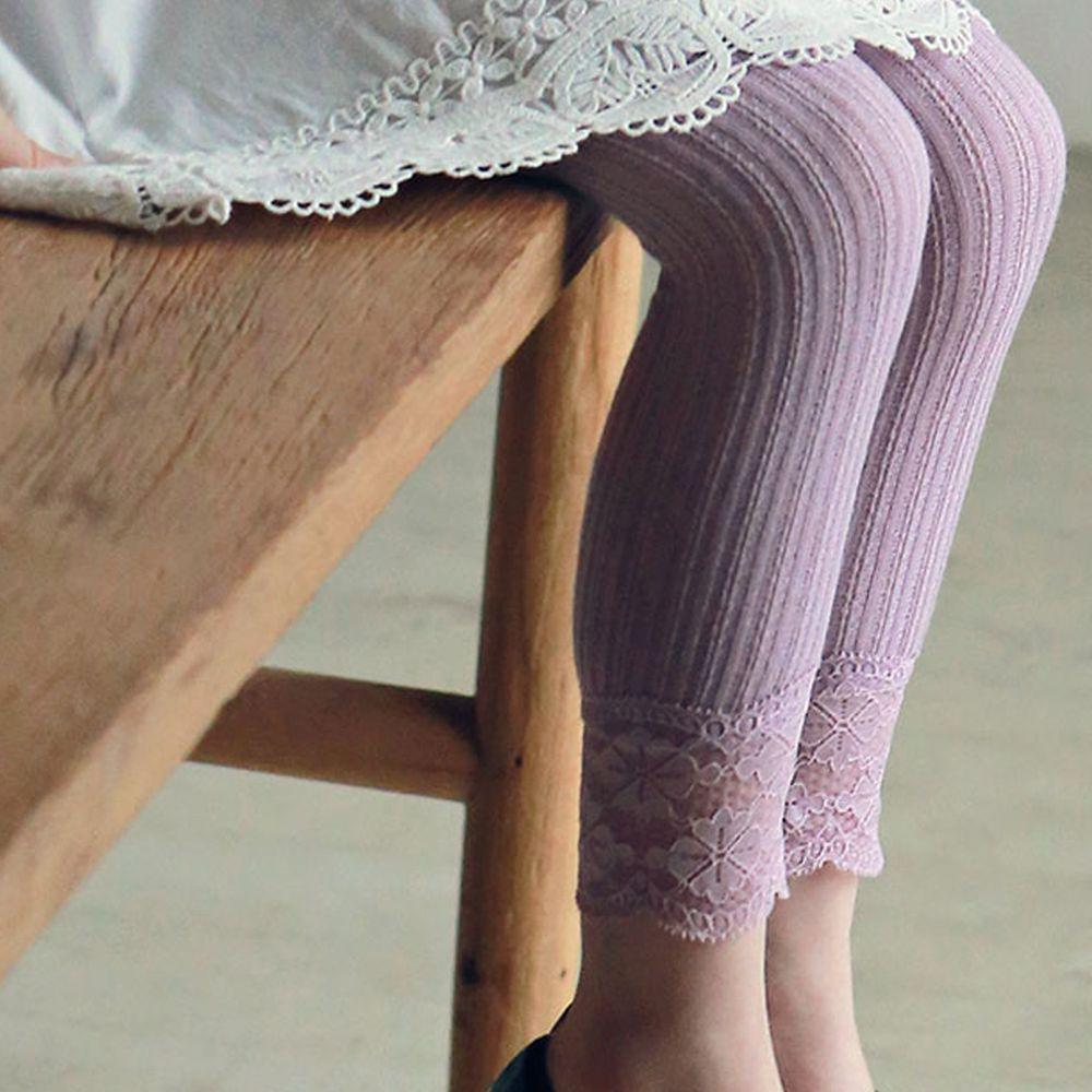 韓國 PuellaFLO - 蕾絲花瓣針織薄內搭褲-藕粉