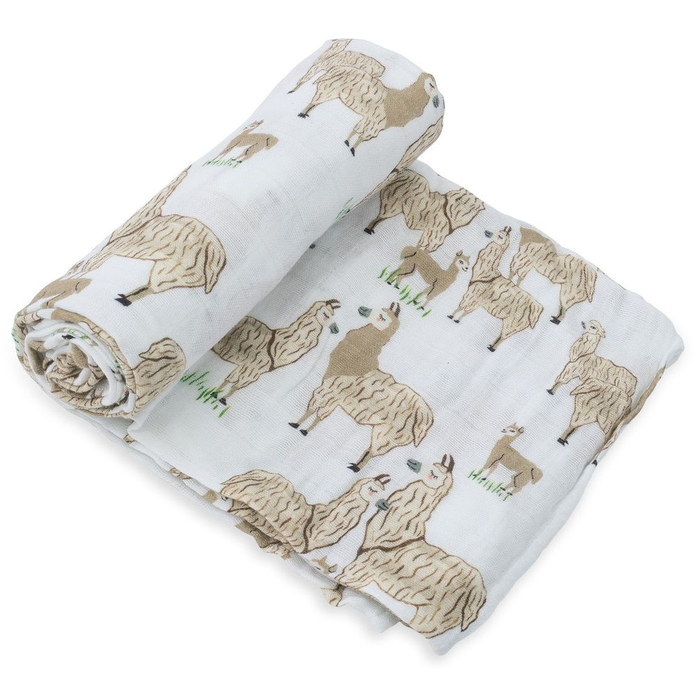 美國 Little Unicorn - 純棉紗布巾單入組-羊駝出沒 (120x120CM)