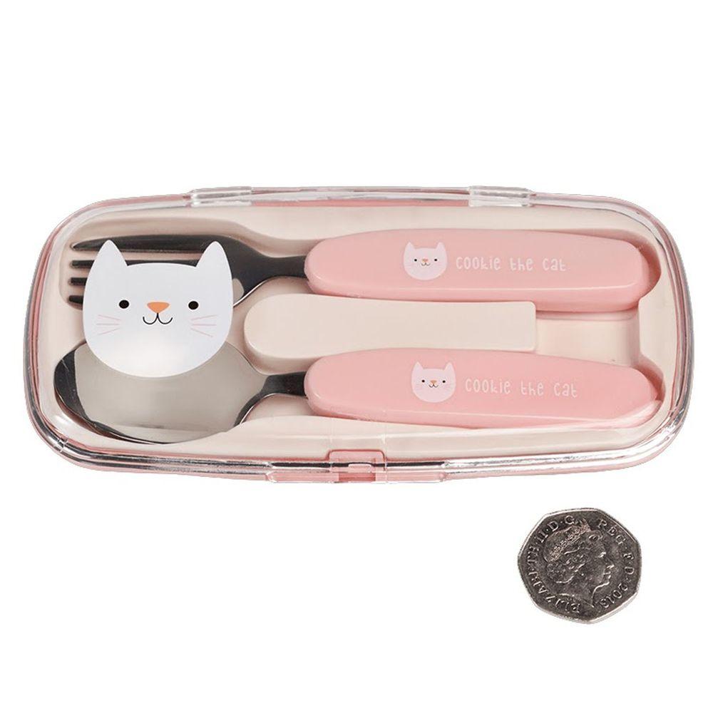 英國 Rex London - 幼兒/兒童餐具2入組(附收納盒)-迷人貓咪
