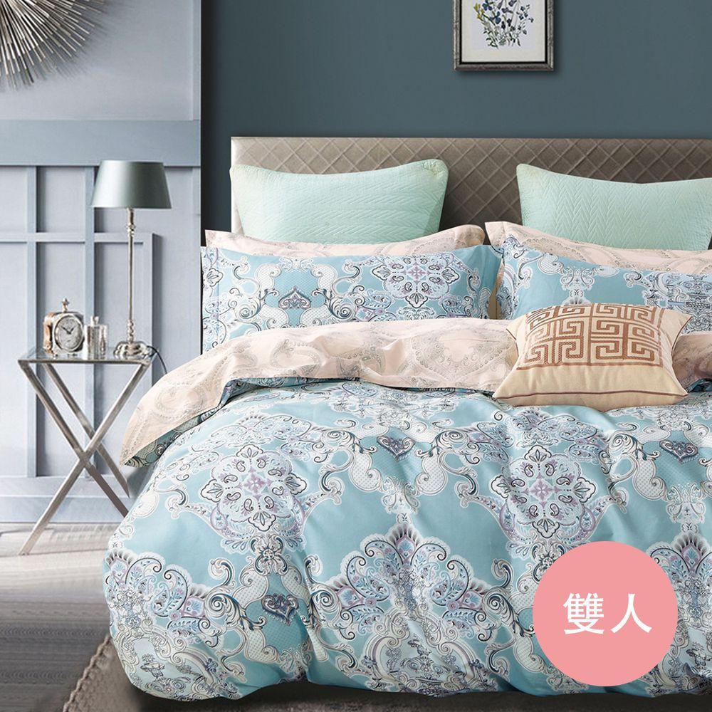 PureOne - 極致純棉寢具組-絲光魅影-雙人四件式床包被套組