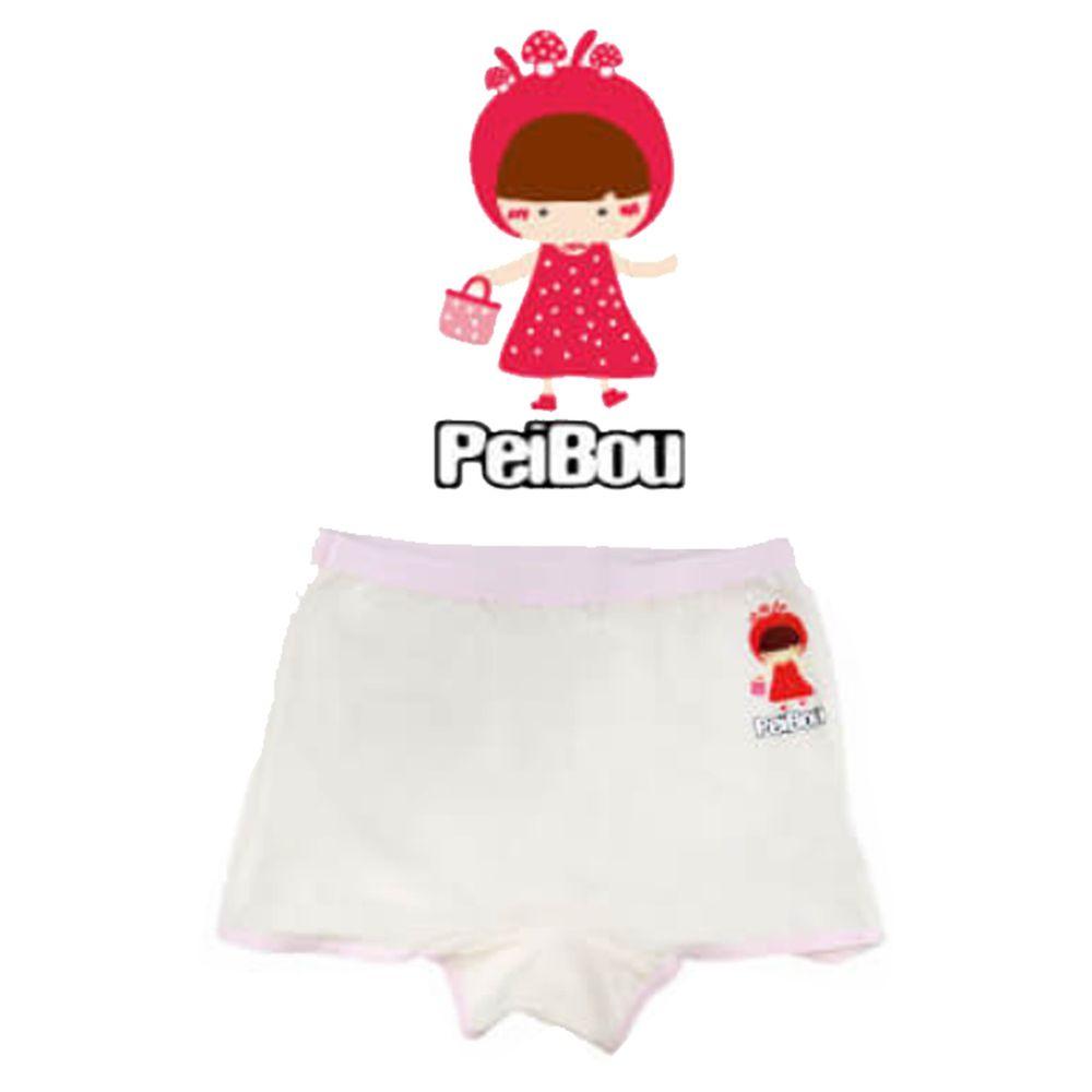 貝寶 - 天絲棉舒膚平衡童女四角褲-小紅帽-白色