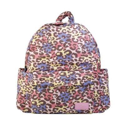 HARU 日本布料-拉鍊後背包-TRAVELER-粉彩豹 (背面為同色布料)