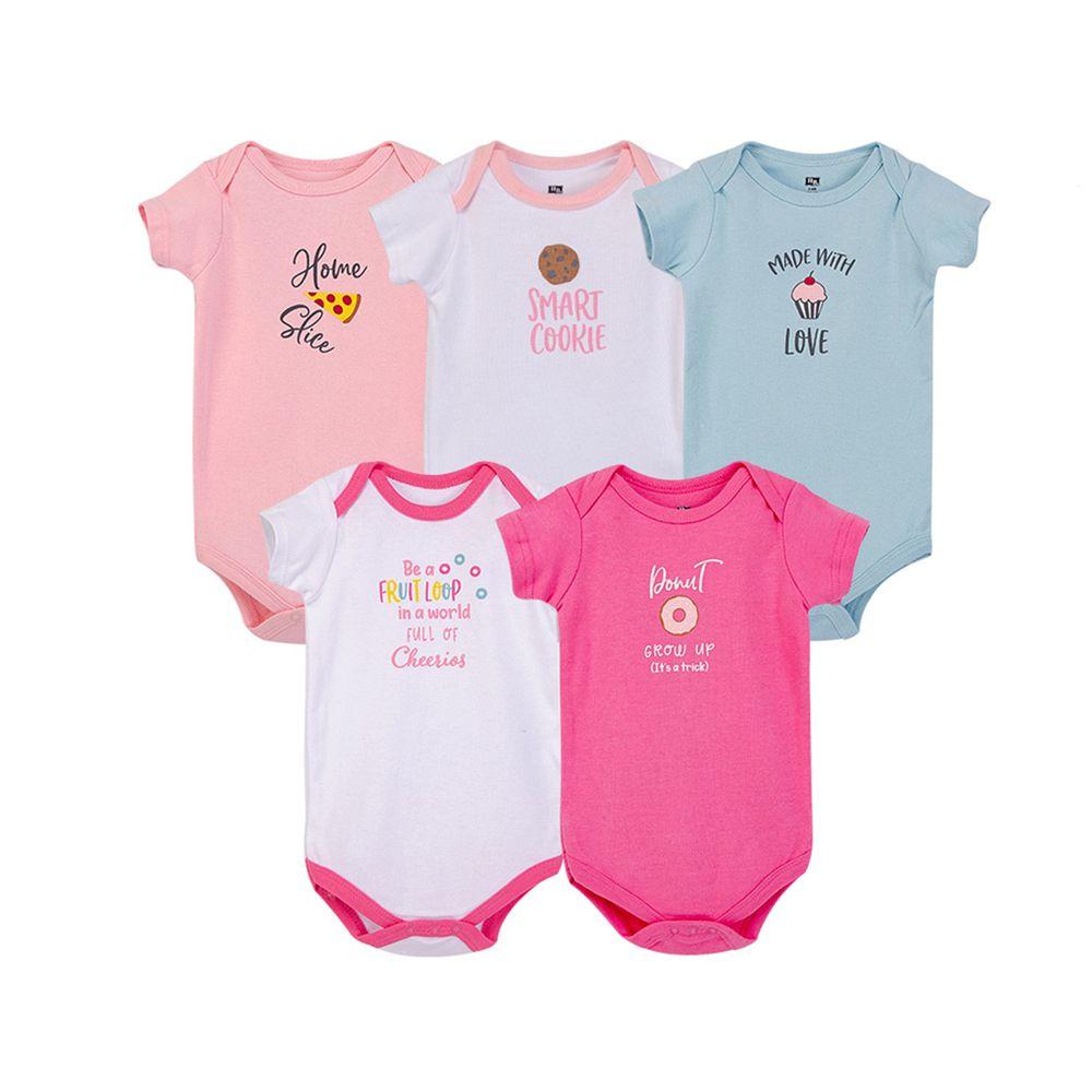 美國 Luvable Friends - 100%純棉嬰幼兒短袖包屁衣5件組-粉色點心