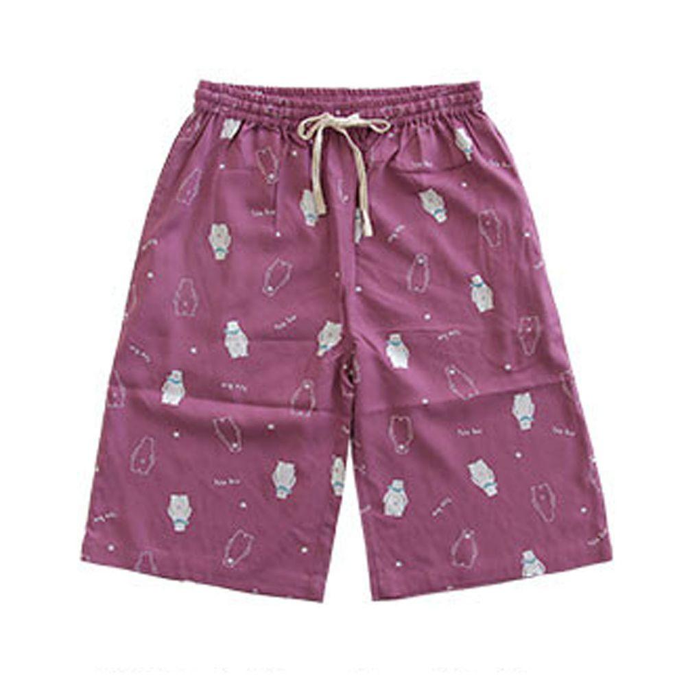 日本女裝代購 - COOL 涼感柔軟舒適家居五分褲/睡褲-北極熊-紫 (M-L Free)