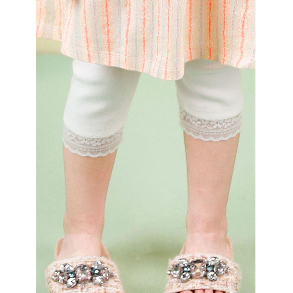 韓國 Jelispoon - 蕾絲褲管7分內搭褲-白