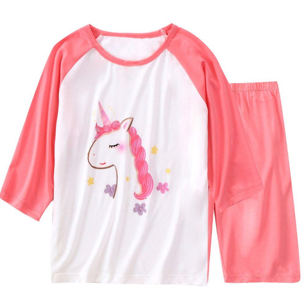 莫代爾七分袖套裝/家居服-浪漫獨角獸-粉紅色
