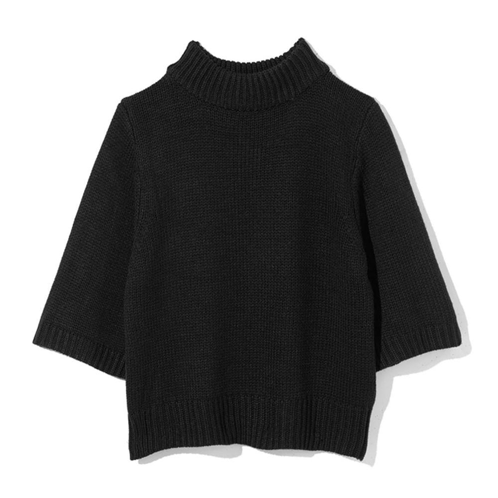 日本 GRL - 寬版顯瘦小高領七分袖針織上衣-黑