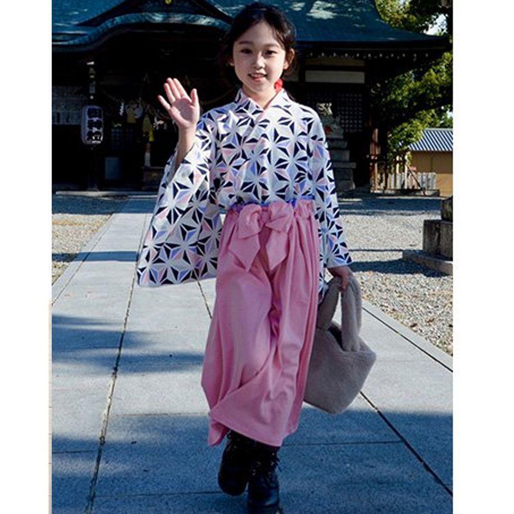 日本服飾代購 - 純棉日本傳統袴 和服(兩件式)-麻葉-粉