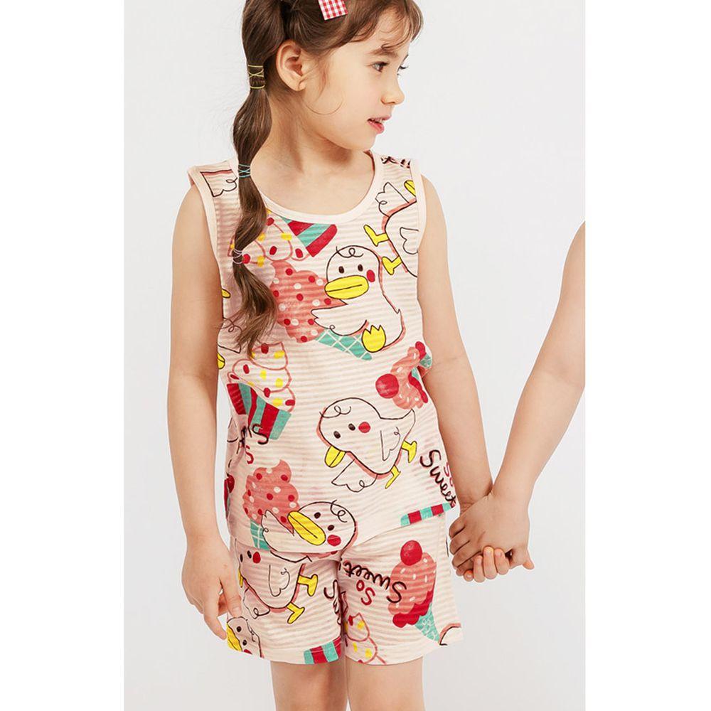 韓國 Mellisse - 韓製輕薄透氣無袖家居服(無螢光棉)-鴨鴨愛吃冰淇淋-粉紅