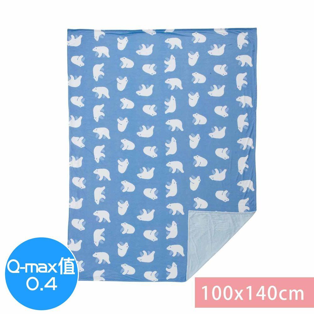 日本小泉 - 節電對策冷感薄毯-北極熊20-深藍 (100x140cm)