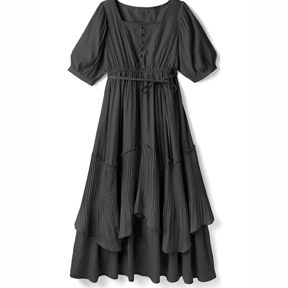 日本 GRL - 明星聯名款 層次感不規則剪裁短袖洋裝-時尚黑