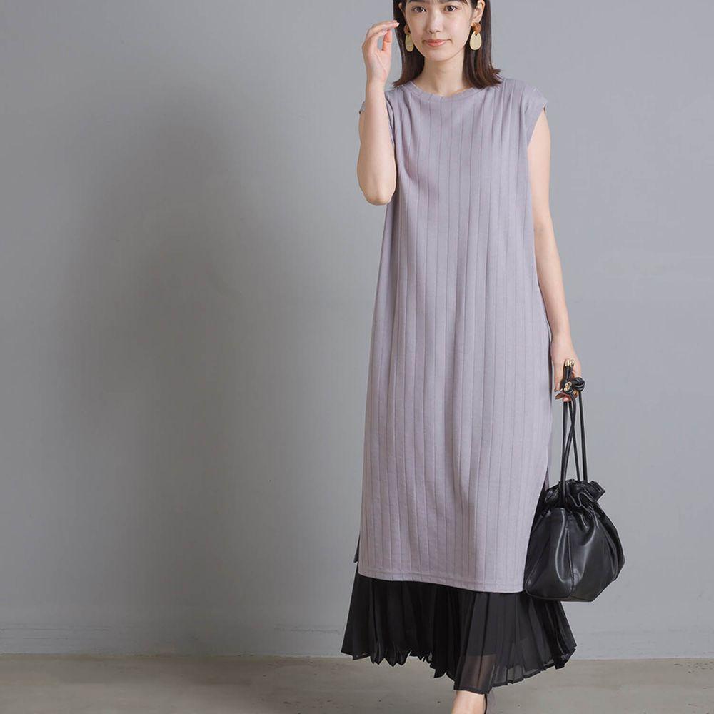日本 OMNES - 防透汗加工 粗羅紋開衩無袖洋裝-紫