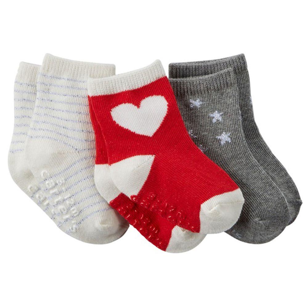 美國 Carter's - 嬰幼兒短襪三入組-紅底白心 (6-8Y)