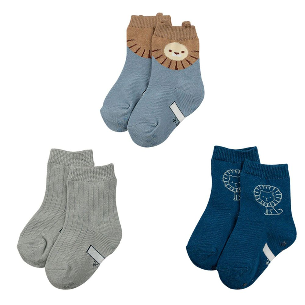 akachan honpo - 男中筒襪3雙組-獅子-藍色 (9~14cm)