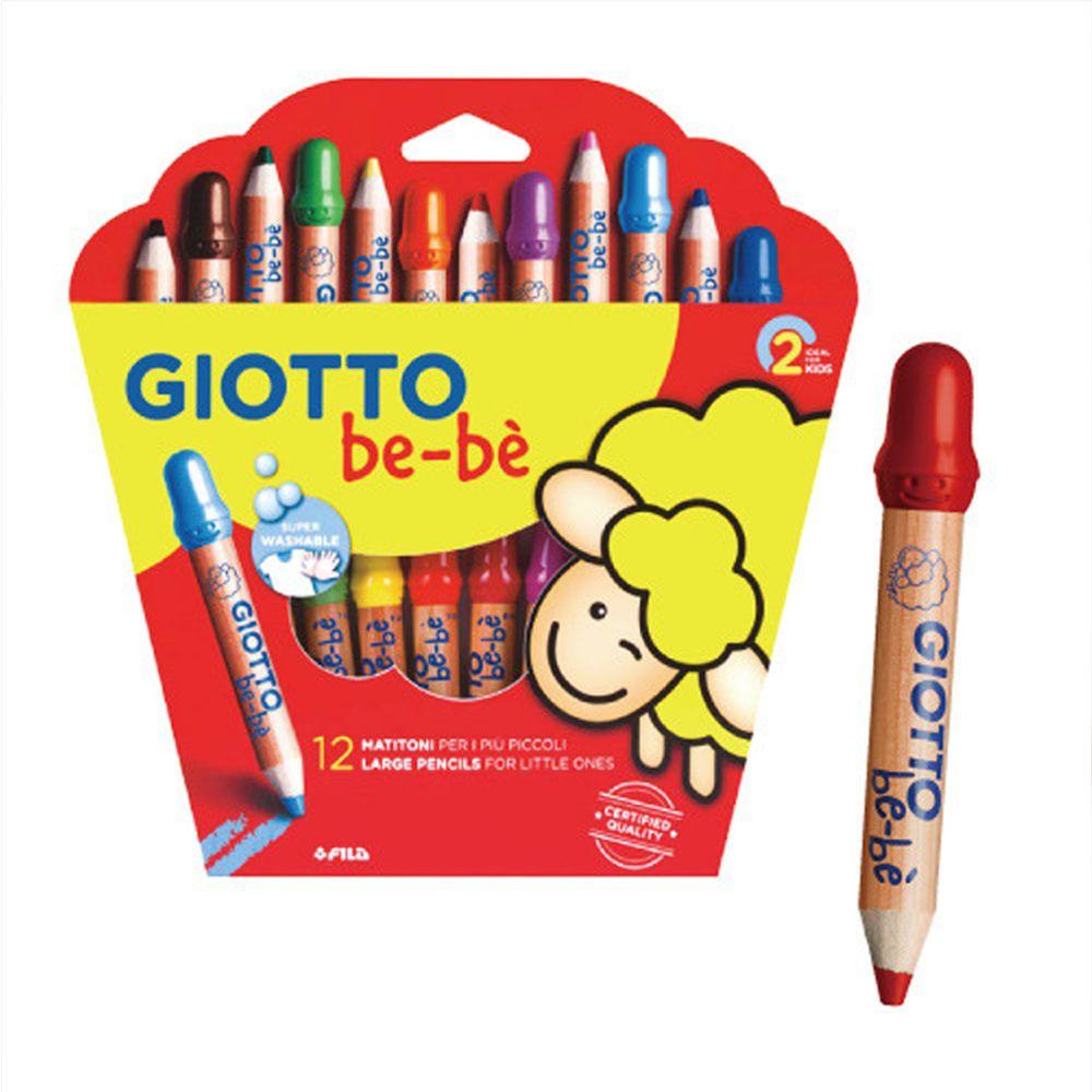 義大利GIOTTO - GIOTTO BEBE 可洗式寶寶木質蠟筆12色