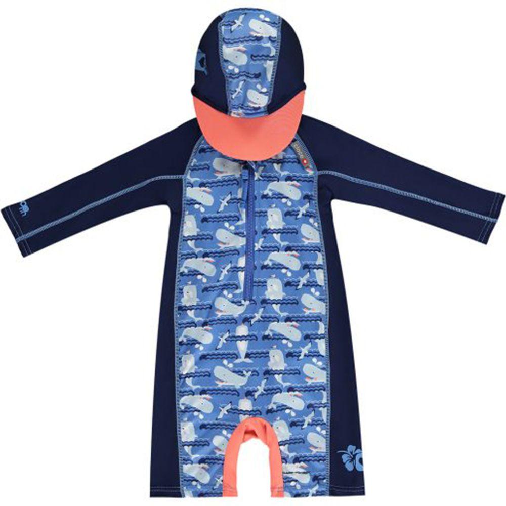 英國Pop-in - 嬰兒抗UV連帽海灘裝-鯨魚