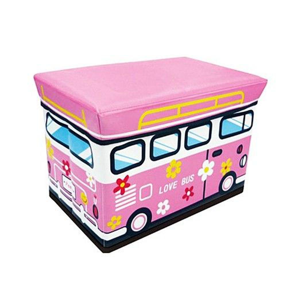 日本 U-COMPANY - 童趣折疊收納箱(耐重80kg)-粉紅小巴士