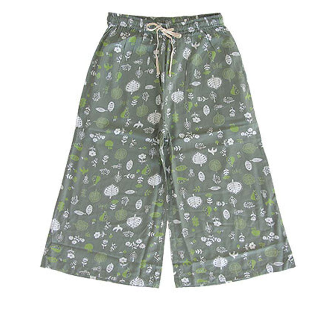 日本女裝代購 - COOL 涼感柔軟舒適家居長褲/睡褲-北歐森林-墨綠 (M-L Free)