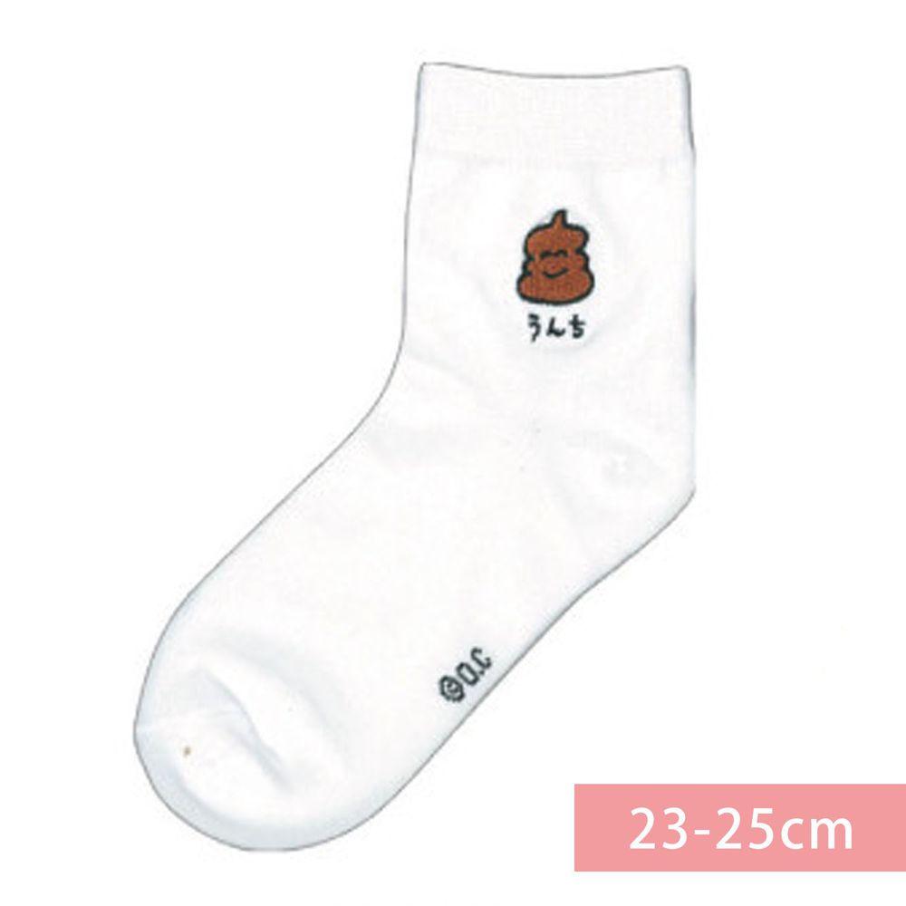 日本 OKUTANI - 童趣日文插畫刺繡中筒襪-便便-白 (23-25cm)
