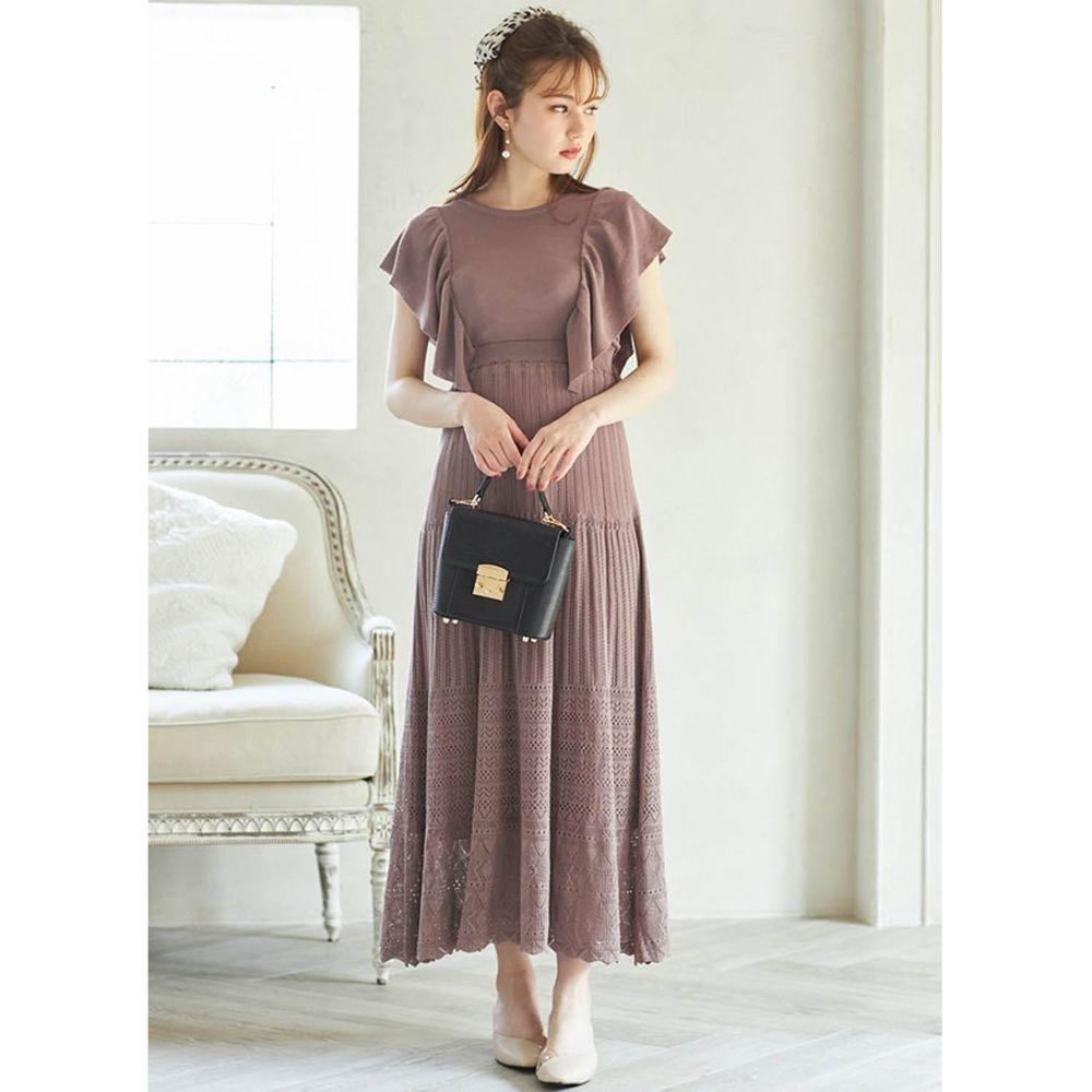日本 GRL - 浪漫前後大荷葉無袖鏤空設計針織洋裝-摩卡棕
