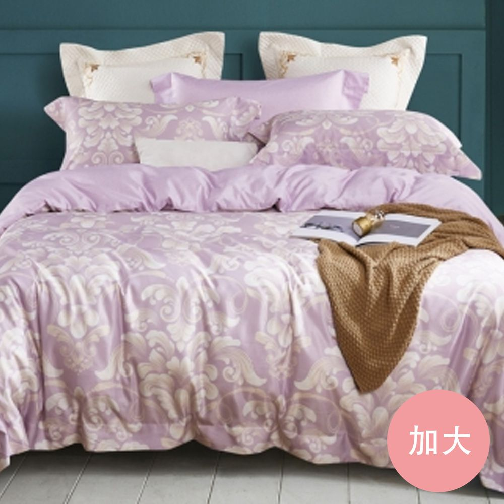 PureOne - 吸濕排汗天絲-宮廷-加大四件式床包鋪棉被套組