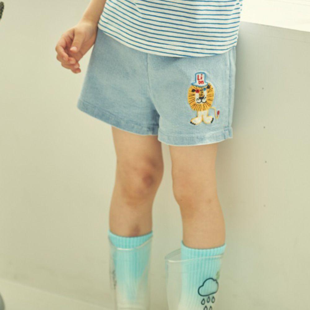 韓國 Mimico - 小獅子鬆緊褲頭牛仔短褲