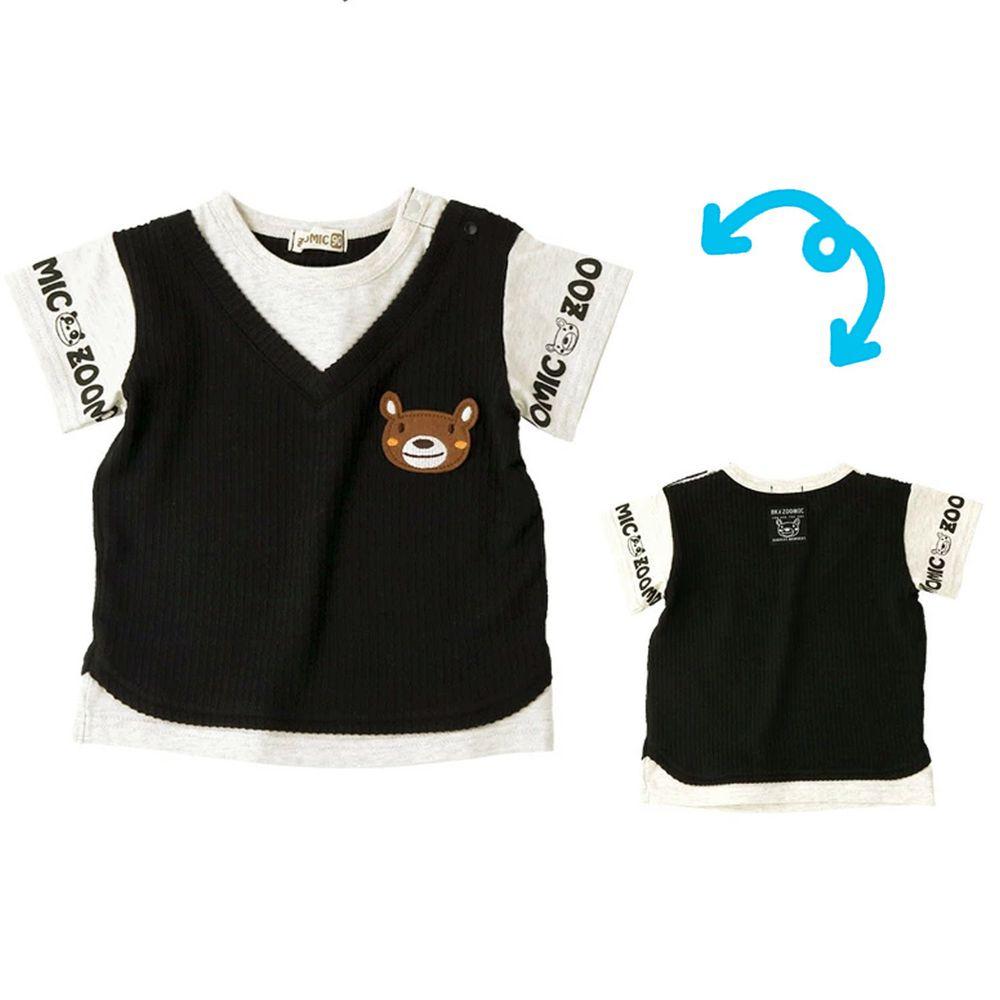 日本 ZOOLAND - 印花拼接短T-小熊針織背心-黑