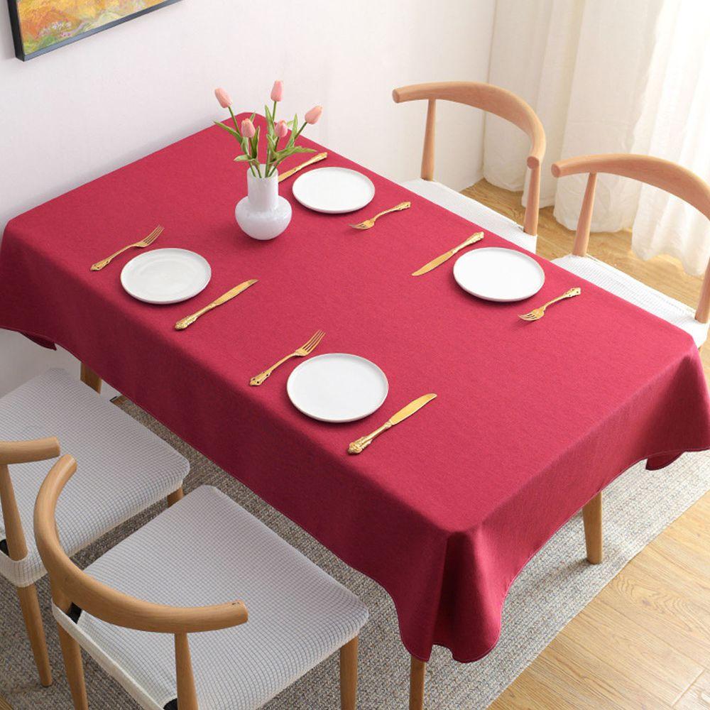 棉麻防水防髒桌布-紅色