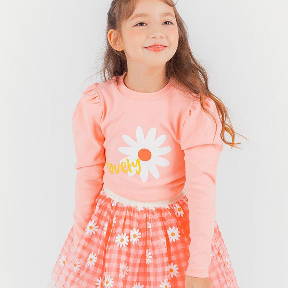 韓國 OZKIZ - 小雛菊公主袖上衣-粉紅