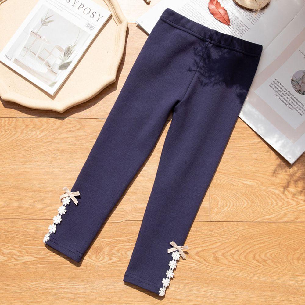 FANMOU - 內搭褲-美麗花朵蝴蝶结-藏青色