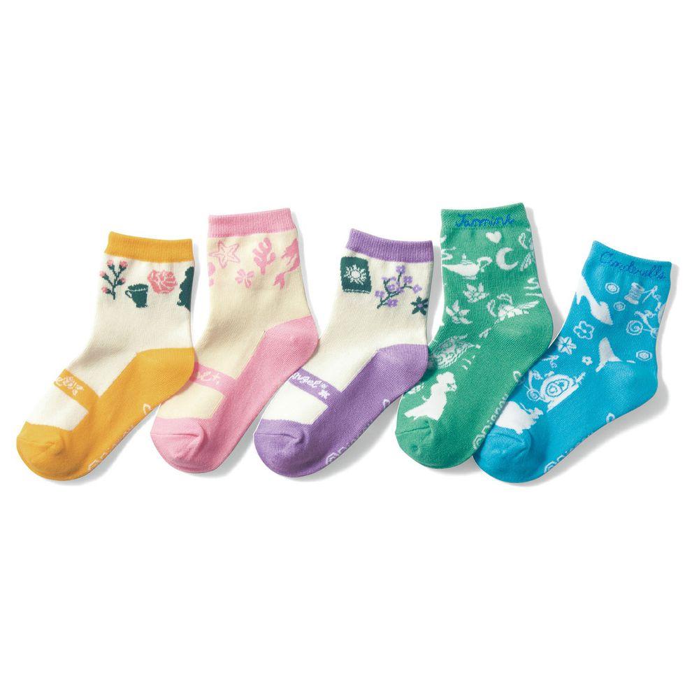 日本千趣會 - 迪尼印花兒童短襪五件組-公主系列