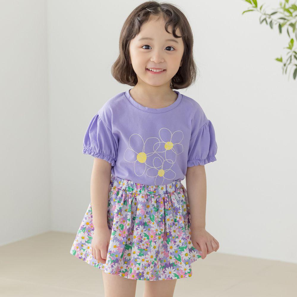 韓國 Orange Mom - 活力花朵套裝-紫上衣X紫裙