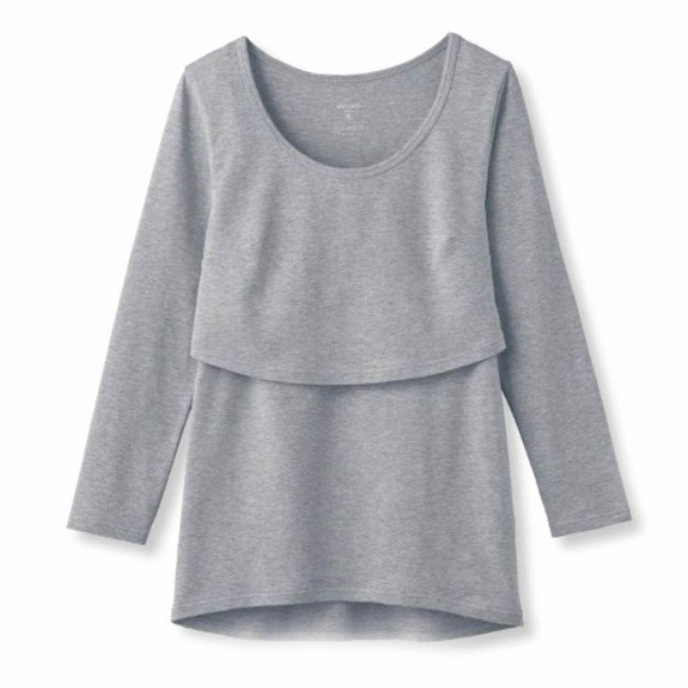 日本千趣會 - 95%棉 (孕哺)雙層設計哺乳發熱衣-淺灰