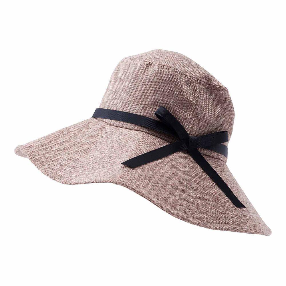 日本小泉 - UV cut 99% 涼感 大帽簷遮陽帽-麻風蝴蝶結-摩卡咖 (可調頭圍~58cm)