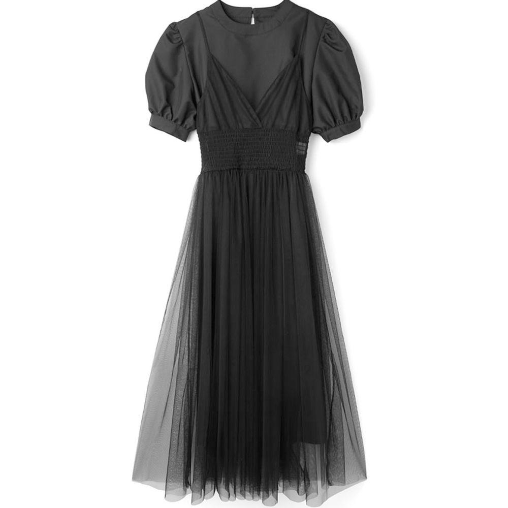 日本 GRL - 澎澎短袖洋裝 X 薄紗飄逸細肩帶洋裝兩件組-時尚黑
