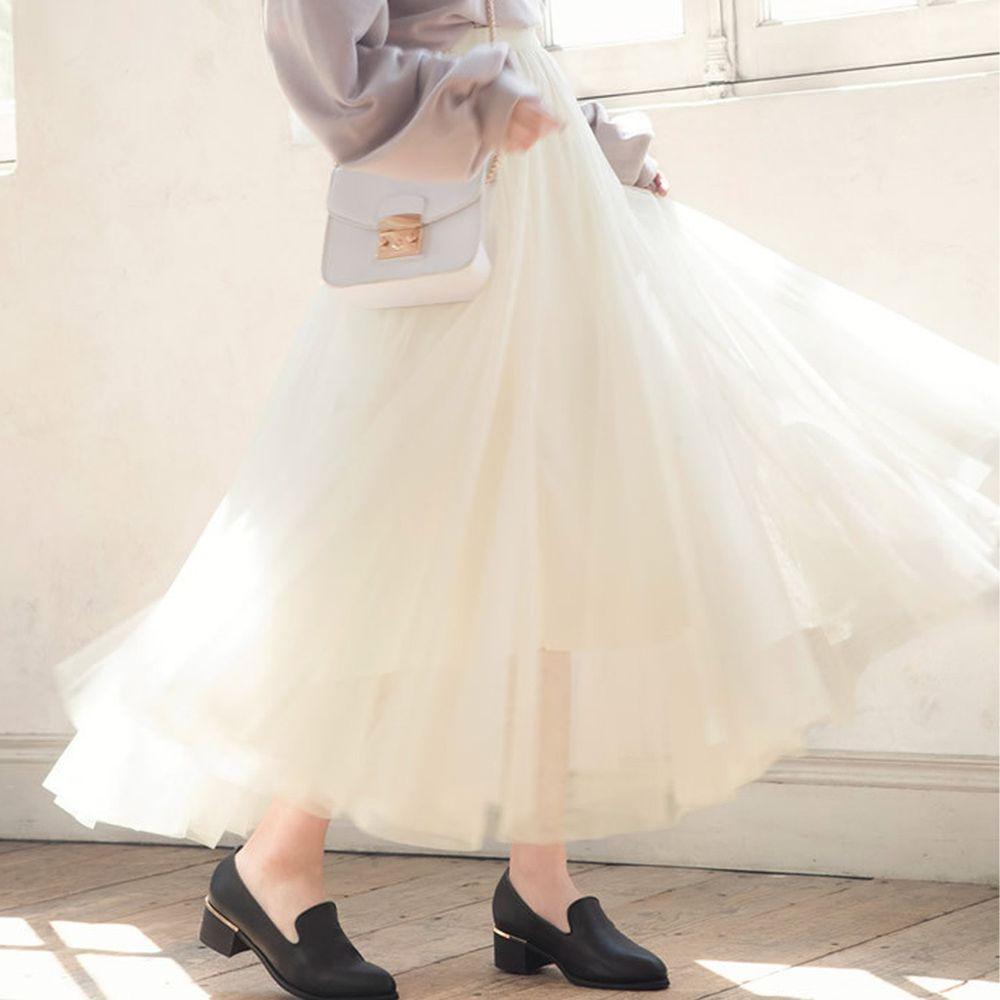 日本 GRL - 飄逸顯瘦雙層傘紗裙-天使白 (M)