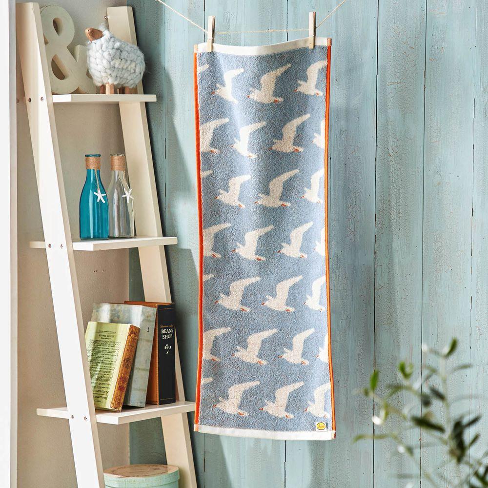 日本千趣會 - 葡萄牙製 純棉質感長毛巾-海鷗-灰藍 (33x80cm)